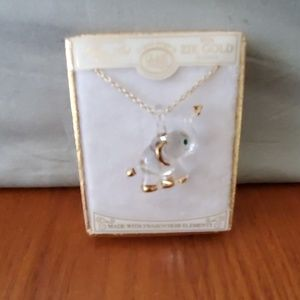 Glass  elephant  necklace  new in box